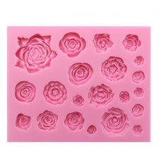 Mity Rain 21 Cavity Roses Collection Fondant Candy Silicone Mold for Sugarcraft Cake Decoration, Cupcake Topper, Polymer Clay, Soap Wax Making Crafting Projects