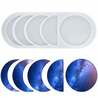 Mity rain Moon Phase Resin Molds - Crescent Silicone Mould/Young New Moon Epoxy Moulds/Full Moon Geode Agate Moulds/Quarter Moon Moulds for DIY Art Casting Resin