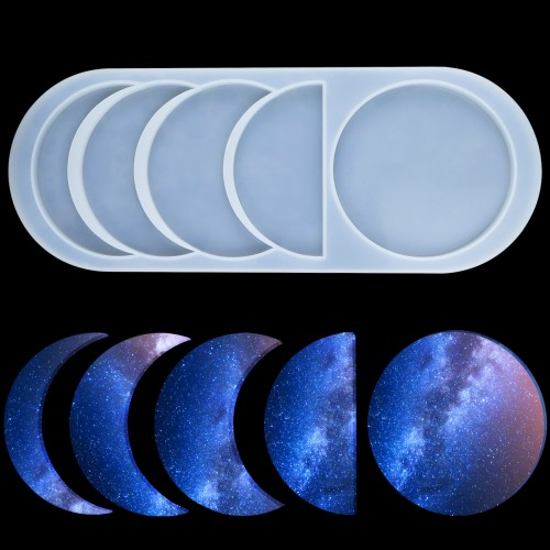 Mity rain Moon Phase Resin Molds Crescent Silicone Mould//Young New Moon Epoxy Moulds//Full Moon Geode Agate Moulds//Quarter Moon Moulds for DIY Art Casting Resin