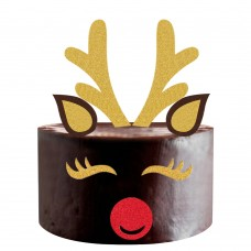 Mity rain Gold Giltter Christmas Elk Cake Topper/Handmade Deer Cake Picks with Reindeer Antlers, Ears, Eyelashes and Nose Cake Decoration for Wedding Baby Shower Birthday Xmas Party Supplies